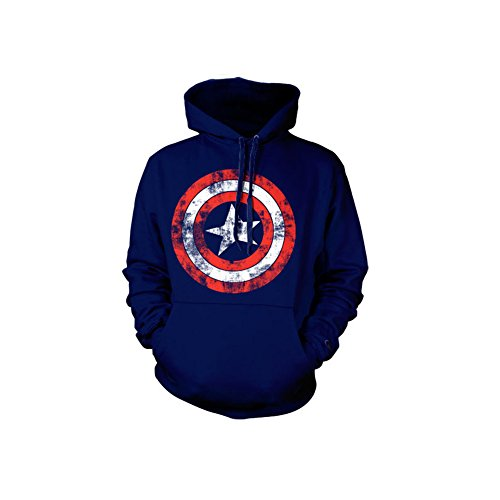Captain America Distressed Shield Hoodie (Bleu Marine), Large
