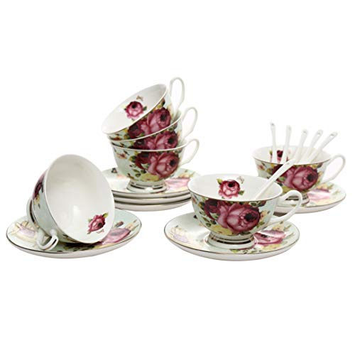 ufengke 7oz Juego de Tazas de Café Flora,Tazas de Porcelana