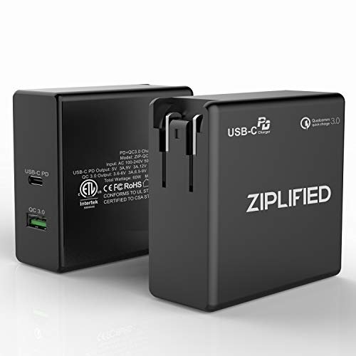 Ziplified USB C Charger, 60W Power Delivery 3.0 & QC 3.0 Dual Port Wall Adapter for MacBook Pro 2016/2017, iPhone Xs Max, XR, X, Samsung Galaxy S10, S9, Pixel 2/3/XL and More