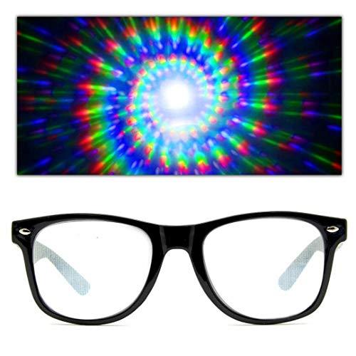 GloFX - Gafas de difracción en espiral para rallar prismas rave Rave Rating Gafas de arco iris Espirales de fuegos artificiales