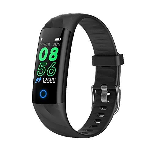 LYB Pulsera inteligente IP68 impermeable monitor de ritmo cardíaco presión arterial hombres banda mujeres fitness reloj para Android IOS (color: negro)