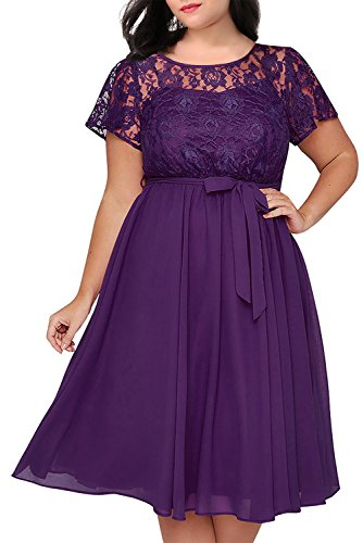Nemidor Women's Scooped Neckline Floral lace Top Plus Size Cocktail Party Midi Dress (16W, Purple)