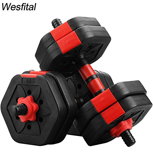 Wesfital Exercise Dumbbells Set, Hexagon Plates Adjustable Weight 22/44/68LBS Strength Training Equipment Barbell for Home Gym (22)