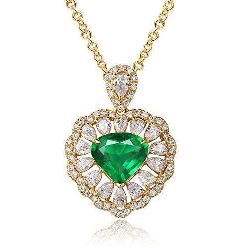 ButiRest Collar de oro auténtico, colgante en forma de corazón de 18 quilates, oro amarillo 750 con corte triangular, 1.712 ct verde esmeralda VS y diamante de 1.32 ct