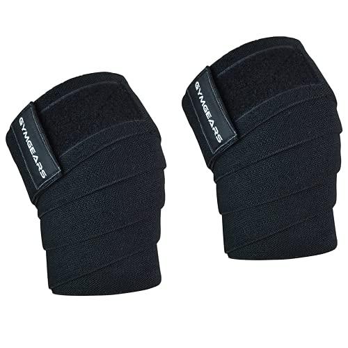 GYMGEARS Kniebandage [2er Set mit Klettverschluss] Knee Wraps 200cm - Knie Bandagen für Kraftsport, Bodybuilding, Powerlifting, Crossfit & Fitness - Für Frauen & Männer geeignet