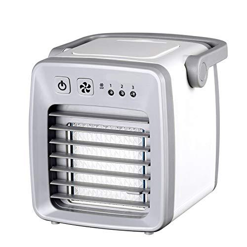 QHGao Mini-airconditioner, kleine elektrische USB-ventilator, draagbare luchtreiniger voor kantoor airconditioning met verdamping, bureauventilator mobiel, grijs