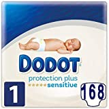 168 pañales DODOT Sensitive talla 1 protection plus (2-5 kgs)
