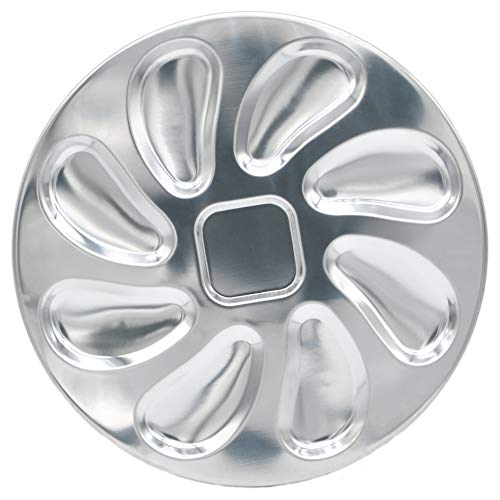 Stainless Steel Oyster Plate for Oysters, Sauce and Lemons, Oyster Shell Shaped, 10 Inch