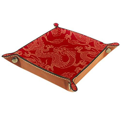 Würfeltablett, faltbares Tablett aus PU-Leder für RPG-Würfel, Gaming und andere Brettspiele, chinesische Mythen, goldener Drache, rot