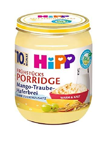 HiPP Frühstücks-Porridge Mango-Traube-Haferbrei, 6er Pack (6 x 160 g)