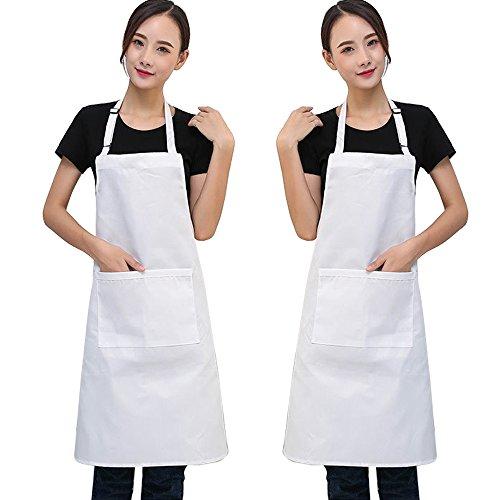 SERWOO 2 Packs Unisexe Tabliers de Salopettes Réglables Blanc en Polyester avec 2 Poches Tablier Chef de Cuisine pour Homme Femme Chef