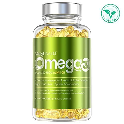 OMEGA 3 VEGAN - FORMULA EXTRA FORTE 1000mg - Senza Olio di Pesce - Alta Concentrazione di EPA & DHA - Acidi Grassi per Colesterolo, Cuore, Pelle, Capelli - Integratore Vegetale -60 Capsule -Maxmedix