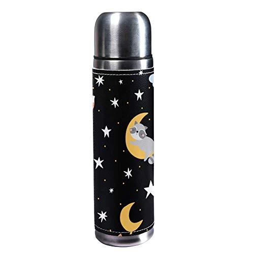 TIZORAX Thermobecher mit schlafenden Tieren und Sternen 500 ml Thermobecher Kaffeetassen Wasserflasche Vakuum Leder Isolierbecher 304 Edelstahl