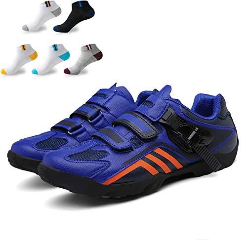 XFQ Zapatos De Ciclo De Los Adultos, Unisex Informal Carretera Bicicleta De Zapatos Anti-Slip No Lock Transpirable Amortiguación Senderismo con 5 Pares De Calcetines Deportivos,Azul,41EU