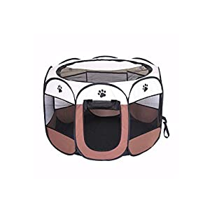BODISEINT Portable Pet Playpen, Dog Playpen Foldable Pet Exercise Pen Tents Dog Kennel House Playground for Puppy Dog Yorkie Cat Bunny Indoor Outdoor Travel Camping Use (Small, Coffee – Beige)