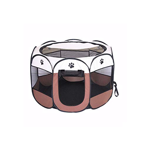 BODISEINT Portable Pet Playpen, Dog Playpen Foldable Pet Exercise Pen Tents Dog Kennel House Playground for Puppy Dog Yorkie Cat Bunny Indoor Outdoor Travel Camping Use (Small, Coffee - Beige)