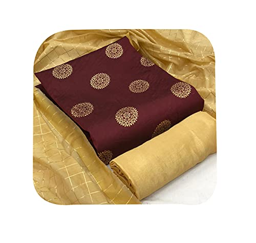 Aspora Women's Cotton Dress Material Salwar Kameez Dupatta Set (DRS-LF-Round-Foil-Maroon Free Size)