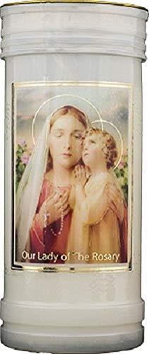 Vela de Nuestra Señora de la Rosaria, 72 horas de combustión, san católica, 15 cm, color blanco
