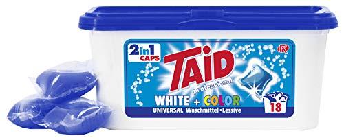 Taid 18 Caps Universalwaschmittel für weiße und farbige Wäsche. Ideal vordosiert 2 in 1 Caps wasserlösliche Folie