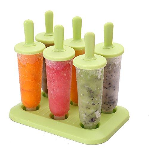 Qearly Set de 6 Fruit Popsicles Ice Crème Ice Pop Cafetière ICY Pôle Moule à sucettes-L Vert