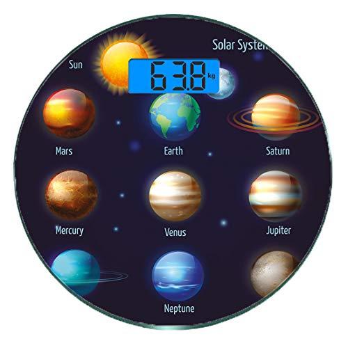 Digitale Präzisionswaage für das Körpergewicht Runde Lehrreich Ultra dünne ausgeglichenes Glas-Badezimmerwaage-genaue Gewichts-Maße,Sonnensystem-Planeten und die Sonne-Piktogramme stellten astronomisc