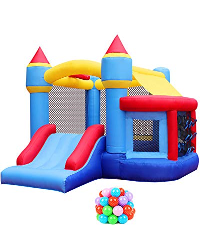 RETRO JUMP Inflatable Bounce House, Bounce Castle with Jumping Ball Pit & Basketball Hoop, Kids Inflatable Bouncer for Party, Ocean Balls, Blower, Patch Kits, Stakes, Carrying Bag Included