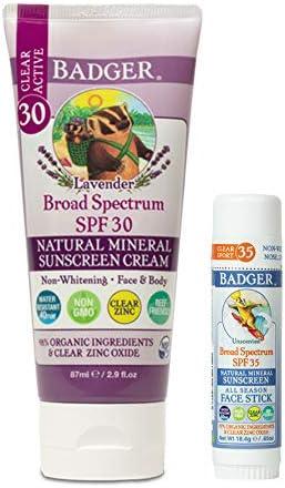 Badger SPF 30 Lavender Clear Zinc Sunscreen Cream 2 9 fl oz SPF 35 Clear Zinc Sport Sunscreen product image
