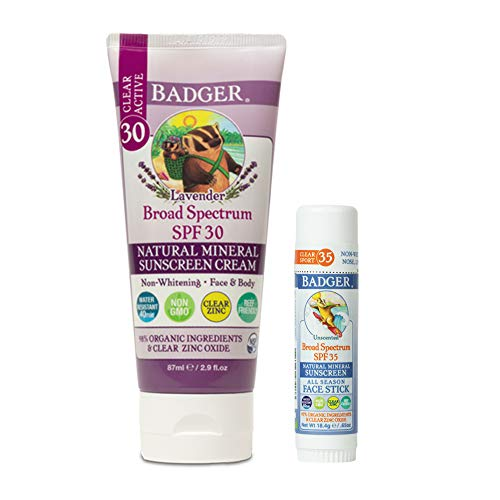 Badger - SPF 30 Lavender Clear Zinc Sunscreen Cream, 2.9 fl oz & SPF 35 Clear Zinc Sport Sunscreen Stick, Unscented, 0.65 oz, Water Resistant Reef Safe Sunscreen