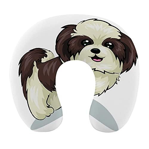 KASABULL Almohada Viaje,Beige Shitzu Shih Tzu Perro Mascota Adorable Cachorro Aseo Peludo,Espuma de Memoria cojín de Cuello,Almohadas de Acampada,Soporte de Cuello para Viaje Coche