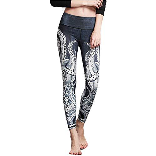 Fansu Damen Sporthose, Damen High Waist Hochwertige Printed Leggings Stretch-Hose Yogahose Sportleggings Tummy Control (M,Tentakel)