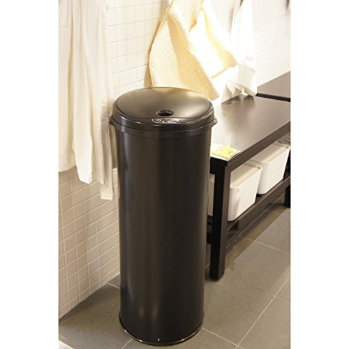 iTouchless 13 Gallon Touchless Sensor Trash Can with Odor Filter System, Round Steel Garbage Bin, Perfect for Home, Kitchen, Office, Alpine White