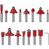 flintronic Fresas Set, 15 PCS Cortadores Madera de Diámetro de Caña Herramienta de Fresado | Kit de Herramientas de Carpintería con Caja de Madera para el Hogar y Bricolaje
