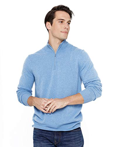 State Cashmere Half Zip Mock Neck Pullover 100% Pure Cashmere Polo Neck Sweater (Medium, Baby Blue)