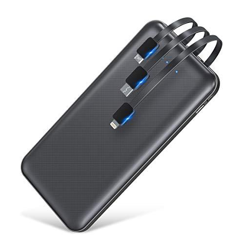 最新版 モバイルバッテリー 大容量10000mAh 軽量 薄型 急速充電 スマホ充電器 携帯バッテリー 3ケーブル内蔵(Lightning+Micro USB+Type C) 持ち運び便利 4台同時充電でき スタンド機能搭載 残量表示 PSE認証済 iPhone/iPad/Android対応 地震/災害/旅行/出張/緊急用などの必携品 (黒)