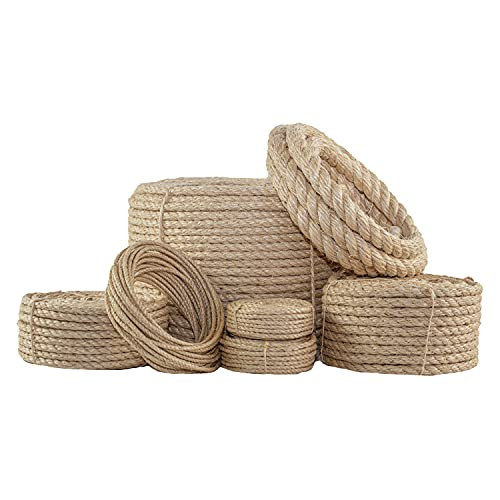 """SGT KNOTS Twisted Sisal Rope - Natural Fibers, Moisture & Weather Resistant Rope for Marine, Decor, Indoor/Outdoor Use (3/4"""" x 50ft)"""