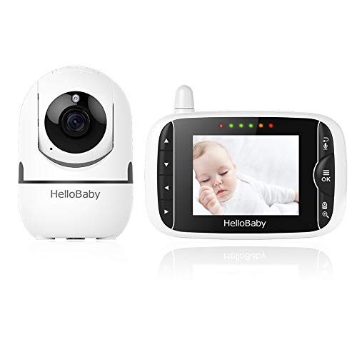 Baby Monitor,Hello Baby Monitor with Camera and Audio, 3.2'' LCD Screen,Rotate 355°Horizontally and120°Vertically,VOX Mode,Two-Way Audio, Night Vision,Temperature Monitoring, Lullabies