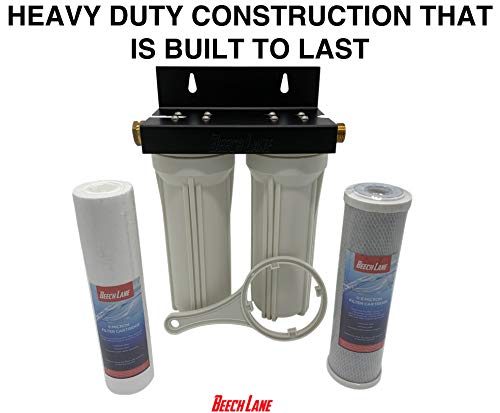 Beech Lane External RV Dual Water Filter System, Leak-Free Brass...