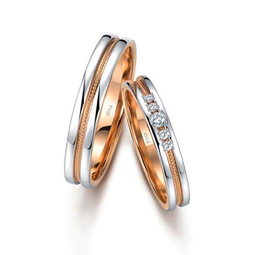 KnSam Anillo Oro de 18K, Bicolor Anillo de Compromiso con Diamante Blanco 0.014ct, Mujer Talla 17 y Hombre Talla 16 (Precio por 2 Anillos)