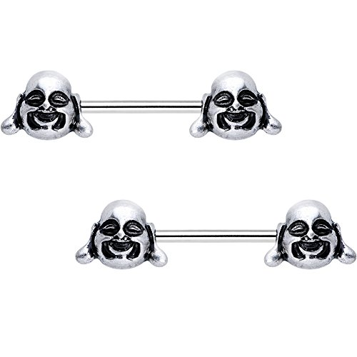 Body Candy Steel Chubby Buddha Barbell Nipple Ring Set of 2 14 Gauge 5/8'