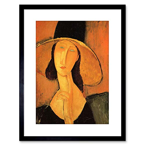 Painting Modigliani Portrait Woman with HAT Framed Picture Art Print F97X9003