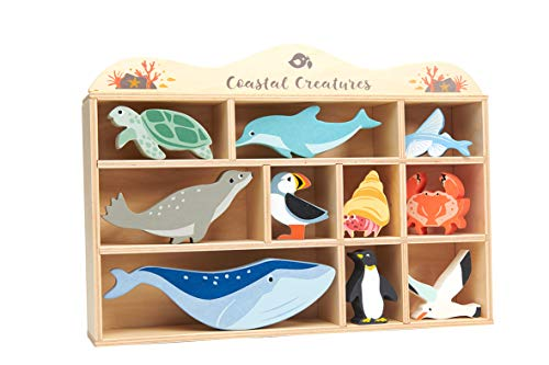 Tender Leaf Toys Coastal Creatures – 8 Wooden Ocean Animal Figurines with a Display Shelf - Classic Toy for Pretend Play – Develops Creative & Imaginative Skills – Learning Role Play – Ages 3+ Years