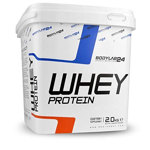 Bodylab24 Whey Protein 2kg | Eiweißpulver, Protein-Shake für Kraftsport & Fitness | Kann den Muskelaufbau unterstützen | Hochwertiges Protein-Pulver mit 80{4cc0236aa5c16fe4565d3636ebd6f5147f6de88270e2e373efae65089ebefae1} Eiweiß | Aspartamfrei | Banane