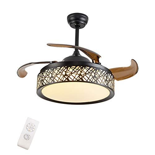 OUKANING Deckenventilator mit Beleuchtung und Fernbedienung 42inch Deckenventilator Mit Licht 3 Licht Farben Fan Licht LED Deckenleuchte Einklappbare Flügel Moderne Deckenlampe(Braun)