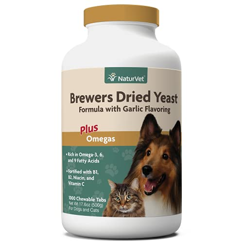 NaturVet – Brewer's Dried Yeast Formula with Garlic Flavoring – Plus Omegas – Rich in Omega-3, 6 & 9 Fatty Acids – Fortified with B1, B2, Niacin & Vitamin C – for Dogs & Cats – 1000 Chewable Tablets