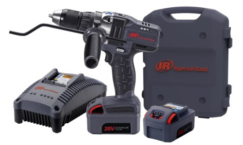 Ingersoll Rand D5140-K2 1/2-Inch Cordless Drill Driver, Charger, 2 Li-ion Batteries and Case Kit, Gray