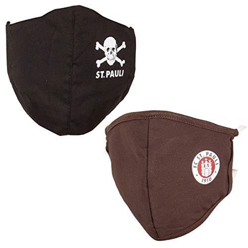 FC St. Pauli Mundbedeckung Mundabdeckung Maske Totenkopf Logo Set braun schwarz 2 Stück
