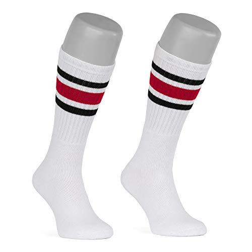 skatersocks 19 Inch Tube Socks weiß schwarz rot gestreifte oldschool Skater Socken Damen Herren Kniestrümpfe mit Streifen