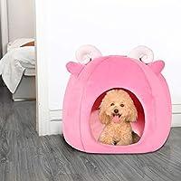 Bigfanshu 新しい折り畳み式ペットハウス&ベッド犬猫ソフト犬小屋マットパッド暖かい子犬クッションバスケット