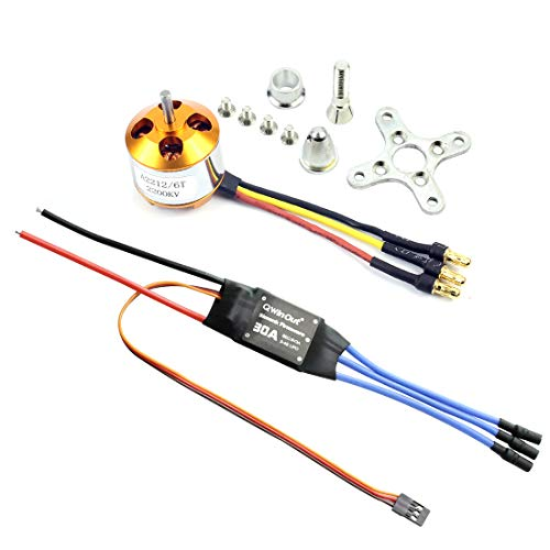 QWinOut A2212 2200KV Brushless Outrunner Motor W/Mount 6T + 30A ESC Controller for DIY RC Quadcopter Multicopter UFO (1 Set)