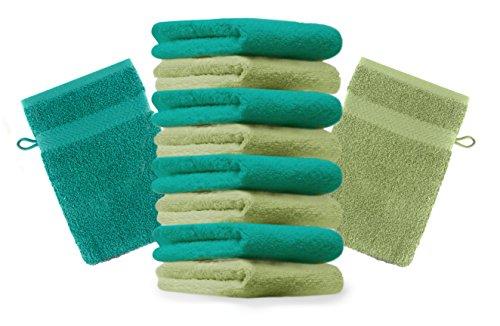 Betz Lot de 10 Gants de Toilette Taille 16x21 cm 100% Coton Premium Couleur Vert Pomme, Vert émeraude